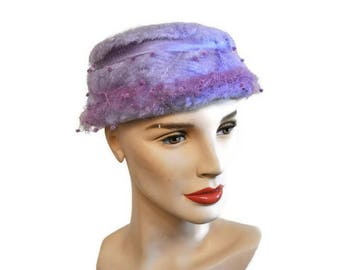 1960's Lavender Hat with Net // Bow Detailed Vintage Fluffy Hat // Purple Vintage Hat with Satin Bow Pill Box Hat