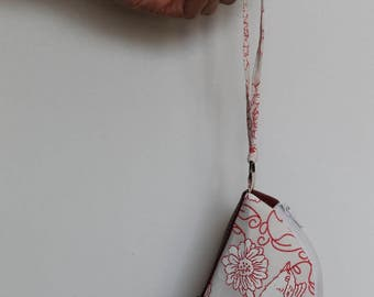 Red Coin Purse, Bird Change Purse in Red and White (Flittermouse)