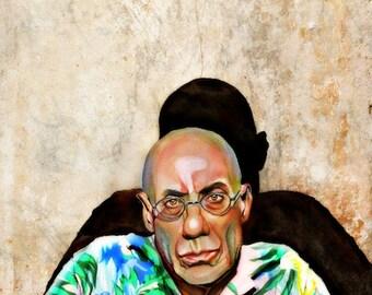 James Ellroy, author, watercolor portrait painting, LA Confidential print from original illustration, watercolor art