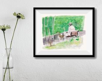 art print Feeding the Geese, watercolor print, painting, women in the park print, ducks art print, green, landscape art, Home & Living
