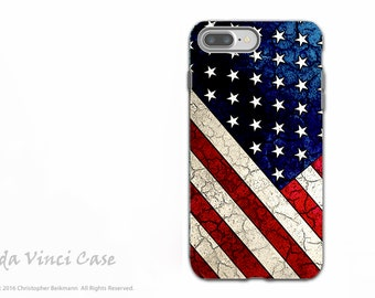 American Flag -  iPhone 7 PLUS - 8 PLUS Tough Case - Dual Layer Protection - USA - Stars and Stripes
