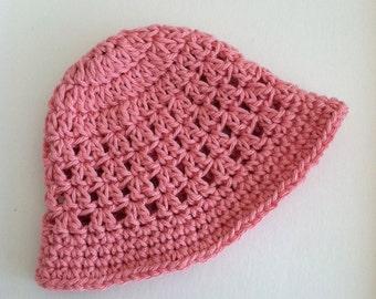 Dusty Rose Sun Hat, Crochet Baby Hat, Newborn Hat, Baby Hat, Pink Hat,  Baby Hat, Baby Girl Hat, Summer Sun Hat
