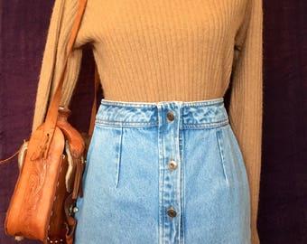 Vintage Button Down Denim Skirt Large