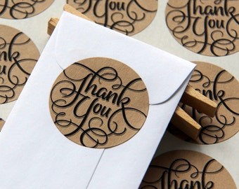 30 Calligraphy Thank You Kraft Stickers or Envelope Seals -- 1.5 inch
