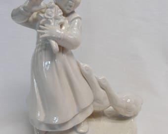 Goose Girl -Blue White glazed Ceramic Bisque