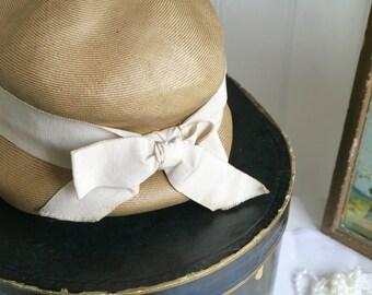 Vintage Christian Dior Hat, Vintage Summer Hat, Vintage 1920s Style Hat, Vintage Hat with Cream Bow, Cloche Style Hat