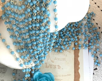 Vintage Beaded Chain, Opaque blue beads, Gold Chain For Jewelry Making, 4mm beads, 2 feet chain, Acrylic Beads, Vintage Supplies, #B227A