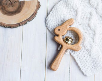 Rattle with Bell. Organic Wooden Teething Toy. Hare Rattle. Natural Wooden Toy. Eco Friendly Infant Toy. Newborn gift.