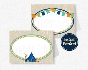 Camping Food Labels, Place Cards, Camping Buffet Cards, Camp Party Decorations, Camping Birthday, Printable INSTANT DOWNLOAD
