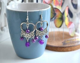 Silver Heart Earrings purple