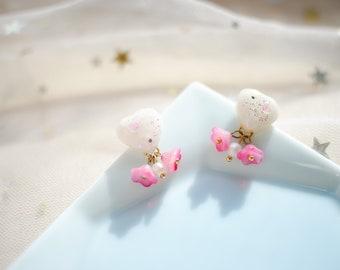 Heart & flower earrings,Gifts for her,Resin Jewelry,Kawaii earrings
