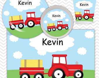 Tractor Red  Plate, Bowl, Cup, Placemat - Personalized Tractor Dinnerware for Kids - Custom Tableware