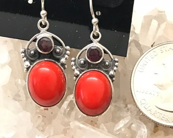 Red Coral and Garnet Earrings