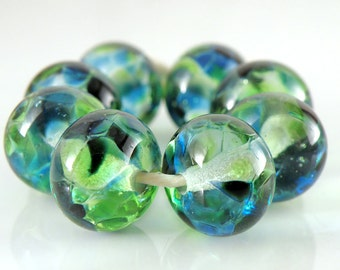 Tropical Seas SRA Lampwork Handmade Artisan Glass Donut/Round Beads Made to Order Set of 8 8x12mm