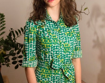 70's Green Pattern Maxi Dress / Shirt Dress / Chemisier / Geometrical Pattern / Optical / 70's dress / 70's Clothing / Made in Italy