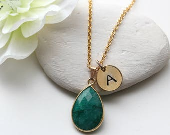 Emerald Necklace -  May Birthstone Necklace - Emerald Necklace Initial - Gold Emerald Pendant - Personalized Emerald Jewelry Jewellery - B3