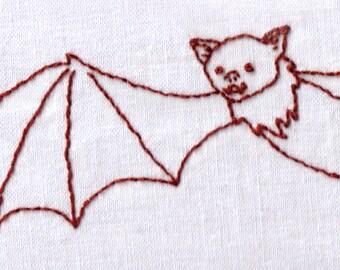 Bat Hand Embroidery Pattern, Halloween, Vampire, Flying, Bat, Cute, PDF