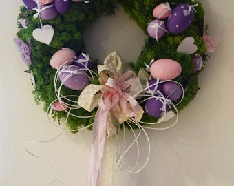 DIY Easter Pink and Violet Wreath