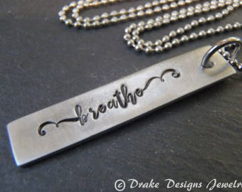 breathe necklace inspirational her natural gift for girlfriend