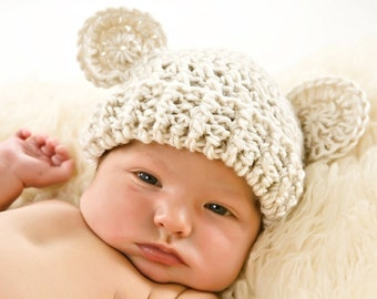 Crochet Baby Hat with Ears, Infant Hat, Baby Hat, MADE TO ORDER 0-3, 3-6, or 6-12 months
