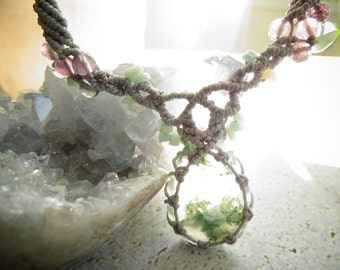 Moss Agate w/Amazonite&Fluorite Macrame Necklace,Bohemian,Hippie,Boho Jewelry,Healing Jewelry,Gift Idea,Chakras,モスアゲート,マクラメネックレス,ボヘミアン,ヒッピー