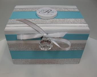 Wedding Recipe Box with Monogram Plaque-Tourq Blue and Silver