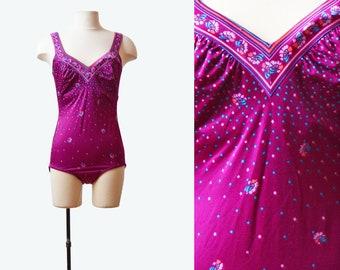 Vintage 70s Swimsuit FLORAL Dot One Piece Bathing Suit / 1970s Swim Suit Purple Blue V Neck Onepiece Retro Medium Large