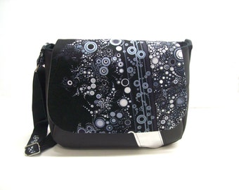 messenger bag black and silver faux leather effervescence fabric flap , crossbody bag black and grey , women's shoulder bag
