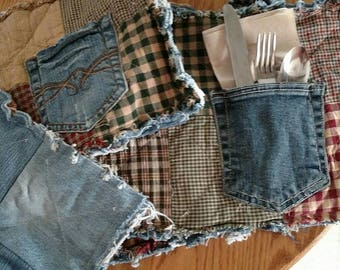 Rag recycled denim & homespun pocket placemats, set of 4, reversible, handmade, silverware NOT included
