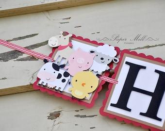 Bauernhof-Banner, Kinder Geburtstagsbanner, Barnyard Party Dekoration, Bauernhof Tier Dekor, Partei Dekorationen, Bauernhof Partei Dekorationen, Vichy-Karo