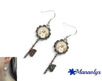 Earrings silver keys, glass cabochon, white roses 3026