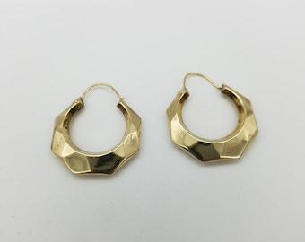 14K Gold Filled Scalloped Hoop Estate Earrings