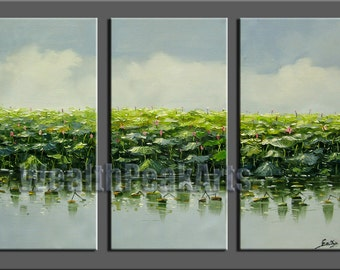 original oil painting,impasto  oil on canvas,hand painted,framed,huge 120x80cm  palette knife  landscape oil painting water lily