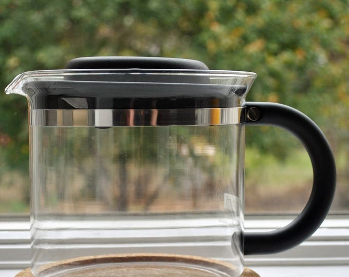 Vintage Bodum Glass Coffee Server with Cork Base 1980's Scandinavian Modern Le Pot Picard Star Trek