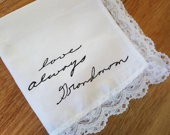 Custom handwriting on lace handkerchief - memorial or wedding gift - personalized handwritten in vinyl