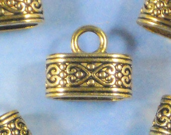 BuLK 30 Oval Celtic Heart End Caps Antique Gold Tone Cord Tips Glue In On (P1485 -30)