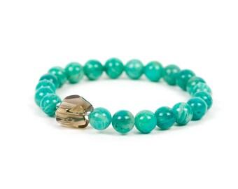 Genuine Amazonite Bracelet, Russian Amazonite and Smoky Quartz Bracelet Set, Gemstone Bracelet, Handmade Jewelry, Gemstone Jewelry