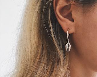 Hoops earrings,shell earrings,Sterling silver studs earrings,cowrie earrings,silver cowrie shell,Sterling silver small hoops earrings