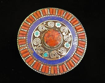 Circle Belt Buckle - Inlaid Turquoise, Coral & Lapis Stones in Tibetan Silver 7964