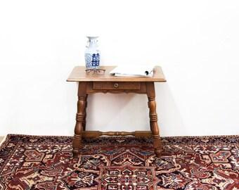 Oak Side Stretcher Table