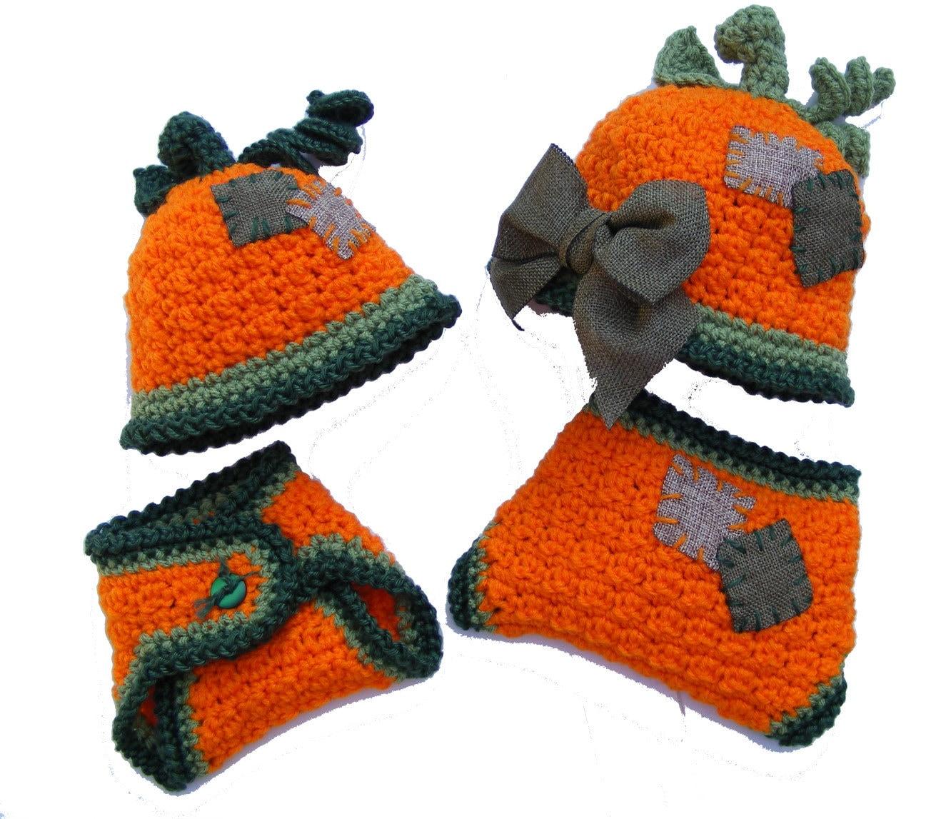 Pumpkin Hat Crochet Pattern Diaper Cover Pattern Baby