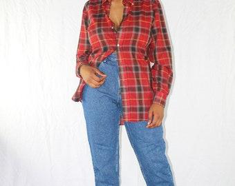 Vintage Plaid Shirt Red Plaid Shirt Button Up Shirt Button Down Plaid Blouse 90s Plaid Shirt Oversized Shirt