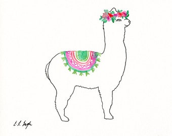 Watercolor Llama Illustration, original artwork, boho llama, llama painting, boho nursery, nursery decor, animal painting, baby animal art
