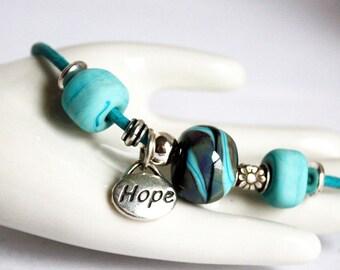 Turquoise Leather Bracelet, Inspirational Hope Designer Bracelet, Turquoise Beaded Sterling Silver Leather Bracelet