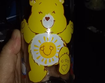 Care Bear Pizza Hut Drinking Glass 1983 Collector's Funshine Bear Feel Fantastic