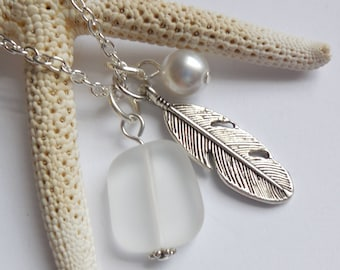 Crystal White Sea Glass Necklace, Beach Glass Necklace, Sea Glass Jewelry, Beach Glass Jewelery, Feather Charm Necklace, Free Shipping in US