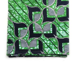 Green African Print Pocket Square, Pocket Square, Handmade Pocket Square, Mens Pocket Square, Men's Accessories, Cotton Pocket Square