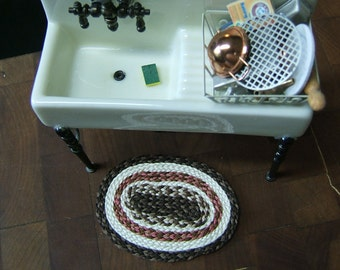 Hand Braided Brown & Cream Dollhouse Miniature Kitchen Welcome Mat Rug # 12-