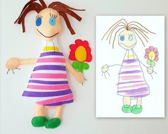 Doll with a flower custom toy, personalized toy made after kids drawing, soft doll, gift idea, birthday gift, gift for girls, custom doll