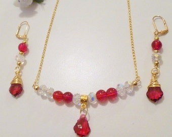Handcrafted Ruby Crystal Baroque Gold Plated Earrings and Necklace Set